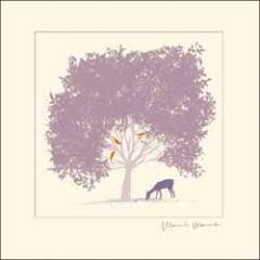 wenskaart woodmansterne - hert bij boom met vogels