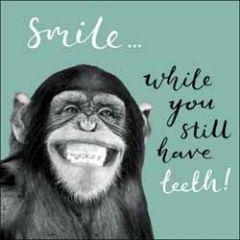 verjaardagskaart woodmansterne - Smile... while you still have teeth! - aap