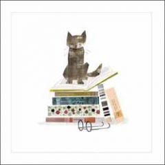 wenskaart woodmansterne - kat op boeken