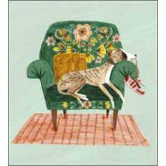wenskaart woodmansterne - hond op stoel