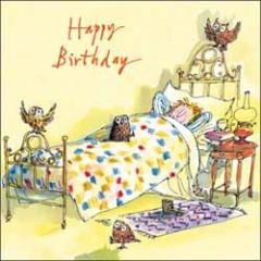 verjaardagskaart quentin blake - happy birthday - uilen op en bij bed