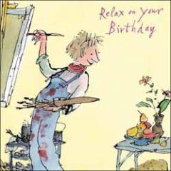 verjaardagskaart quentin blake - relax on your birthday - schilderen