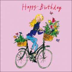 verjaardagskaart woodmansterne - quentin blake - happy birthday - fiets