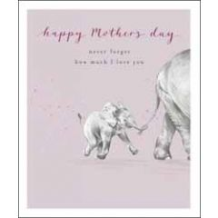 grote moederdagkaart woodmansterne - happy mother's day never forget how much I love you - olifantjes