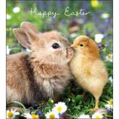 paaskaart woodmansterne - happy easter - konijntje en kuiken