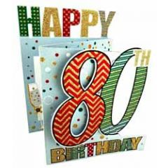 80 jaar - 3d verjaardagskaart cutting edge - happy 80th birthday - zilver
