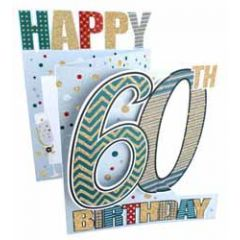 60 jaar - 3d verjaardagskaart cutting edge - happy 60th birthday - zilver