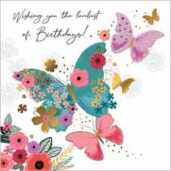 wenskaart second nature - wishing you the loveliest of birthdays! - vlinders