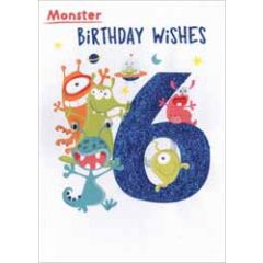 6 jaar - verjaardagskaart - monster birthday wishes