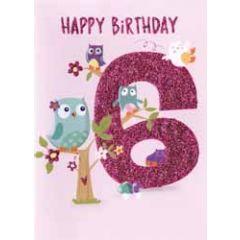 6 jaar - verjaardagskaart - happy birthday - vogels