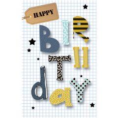 verjaardagskaart - happy birthday - letters