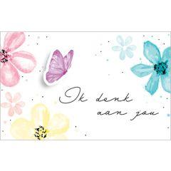 wenskaart - ik denk aan jou - vlinder en bloemen