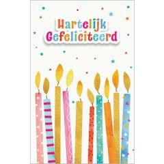 verjaardagskaart - hartelijk gefeliciteerd - kaarsjes