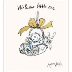 geboortekaarte quentin blake - welcome little one - baby roze