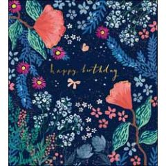 verjaardagskaart the proper mail company - happy birthday - bloemen donkerblauw