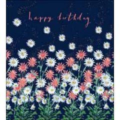 verjaardagskaart the proper mail company - happy birthday - madeliefjes donkerblauw