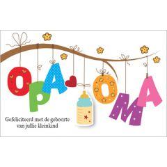 geboortekaartje - opa oma gefeliciteerd met de geboorte van jullie kleinkind