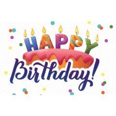 verjaardagskaart - happy birthday - taart met kaarsjes