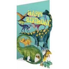 lasergesneden wenskaart roger la borde - happy birthday - dinosaurussen