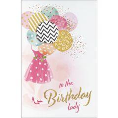 verjaardagskaart - to the birthday lady - vrouw met ballonnen