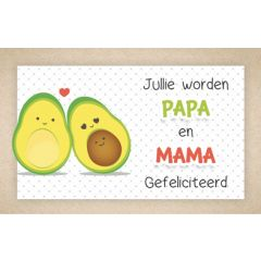 wenskaart - jullie worden papa en mama gefeliciteerd - avocado