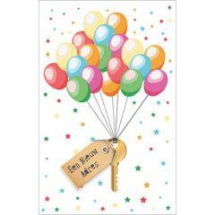 wenskaart - een nieuw adres - ballonnen