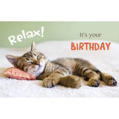 wenskaart - relax it's your birthday - kat