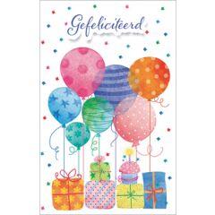 wenskaart - gefeliciteerd - cadeautjes en ballonnen