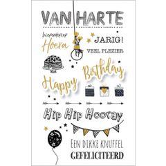 verjaardagskaart - van harte, hieperdepiep hoera - cadeautjes, slinger, ballon