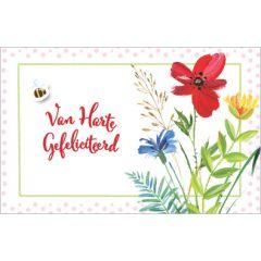 wenskaart - van harte gefeliciteerd - bij en bloemen
