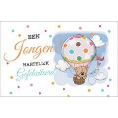 geboortekaartje - een jongen hartelijk gefeliciteerd - luchtballon
