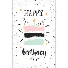 verjaardagskaart - happy birthday - taart met kaarsje