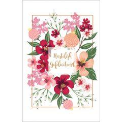 felicitatiekaart - hartelijk gefeliciteerd - bloemen