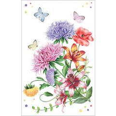 wenskaart - zomerbloemen en vlinders