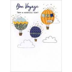 wenskaart - bon voyage - luchtballonnen