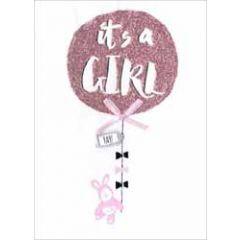 wenskaart - it's a girl - ballon