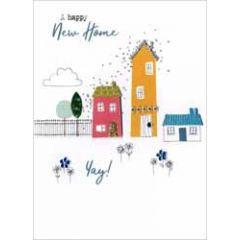 wenskaart - a happy new home - huizen