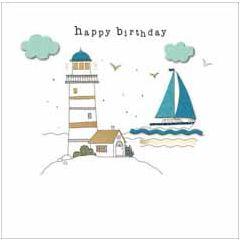 verjaardagskaart - happy birthday - vuurtoren