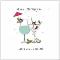 verjaardagskaart - great birthdays start with a cocktail