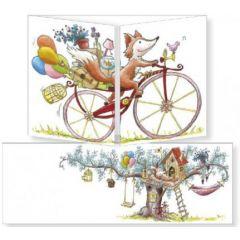 uitklapbare wenskaart cache-cache - vos op fiets