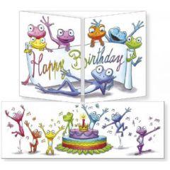 uitklapbare verjaardagskaart cache-cache - happy birthday - kikkers