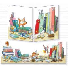 uitklapbare wenskaart cache-cache - vos en muis bij boeken