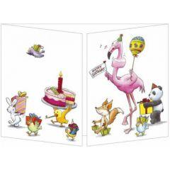 uitklapbare wenskaart cache-cache - happy birthday - dieren en taart