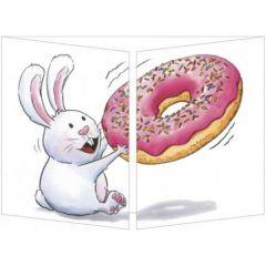 uitklapbare wenskaart cache-cache - konijn met donut