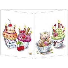 uitklapbare verjaardagskaart cache-cache - happy birthday - muffins