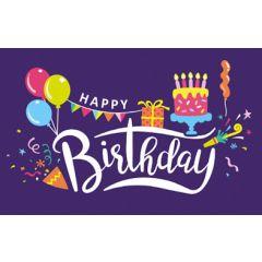 verjaardagskaart - happy birthday - ballonnen, slinger, cadeautje, taart