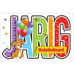 verjaardagskaart - jarig, gefeliciteerd - hond met ballonnen