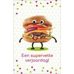 verjaardagskaart - een supervette verjaardag - hamburger
