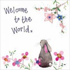 wenskaart alex clark - welcome to the world - konijn