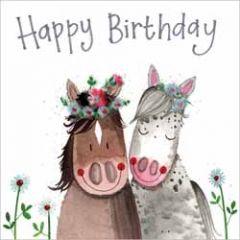 wenskaart alex clark - happy birthday - pony's